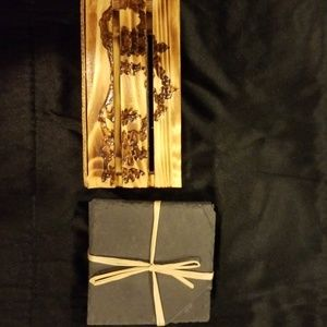 Other - Slate and woodburned rustic coaster set.